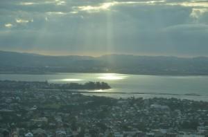 Vista da baia de Auckland